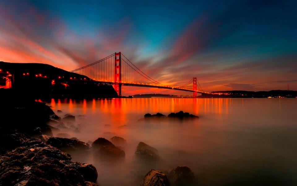 Golden Gate Bridge over a body of water