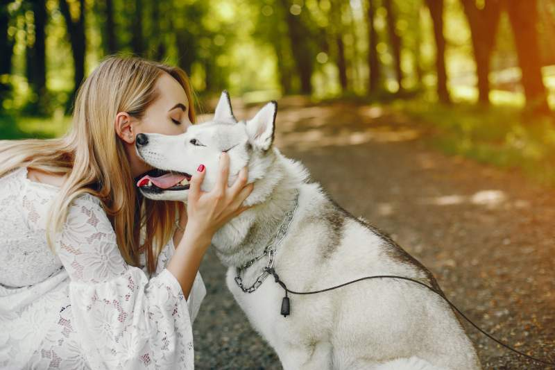 A girl holding dog and kiss the dog